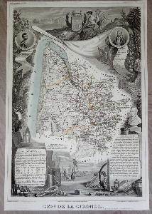 Carte illustrée du Département de la Gironde In-Folio 1856