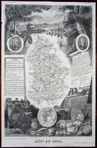 Carte illustrée du Département du JURA In-Folio 1856